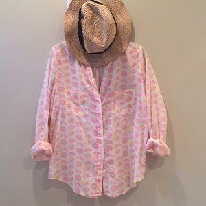 Juicy Grapefruit slices lightweight cotton blouse